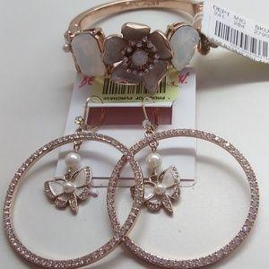 BetseyJohnsonNewWhite Butterfly Bracelet & Earring